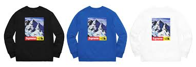 2017 supreme tnf crewneck sweatshirt