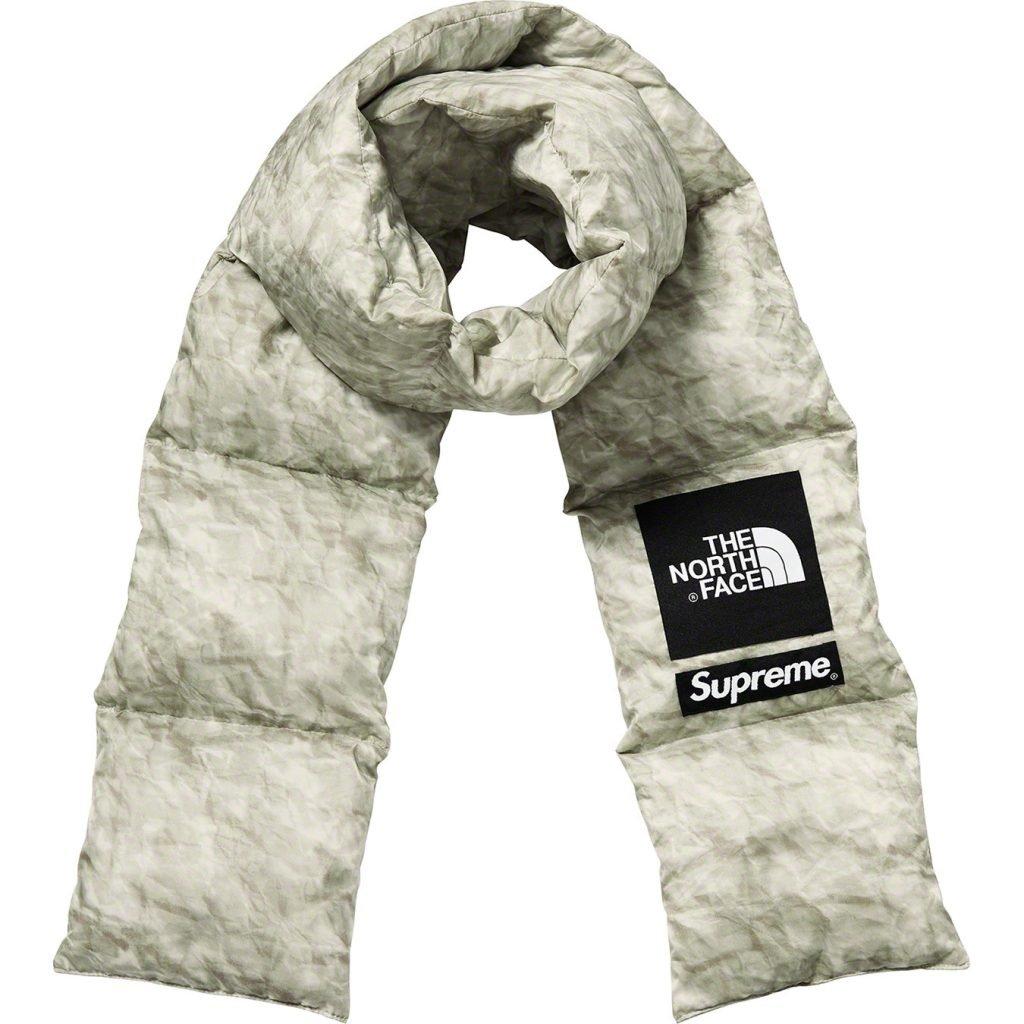 2019 supreme tnf paper print 700-fill down scarf