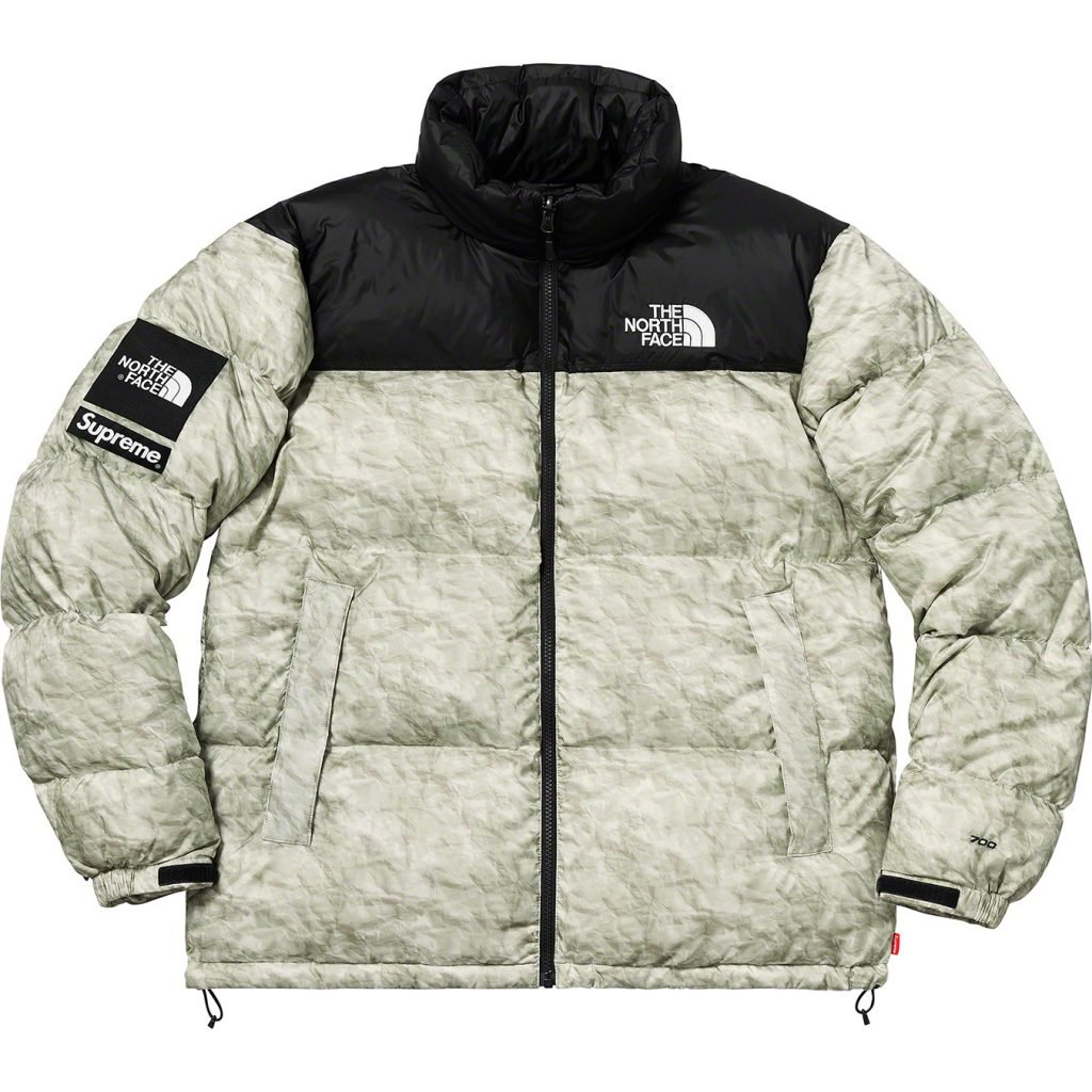 2019 supreme tnf paper print nuptse jacket