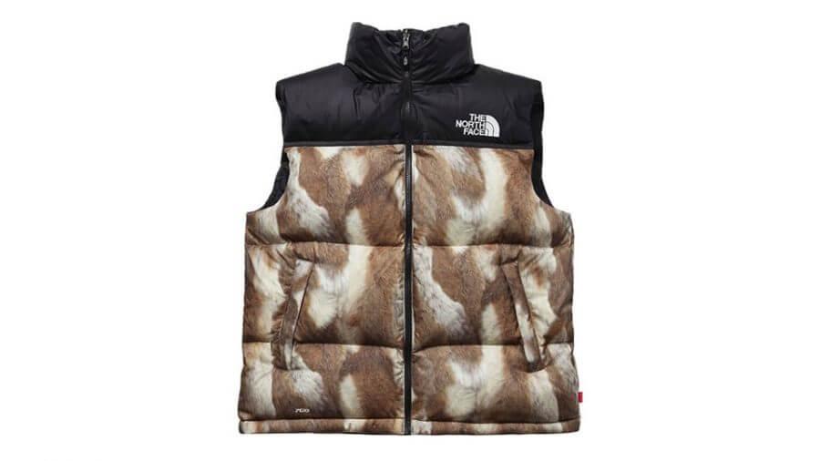 2013 supreme tnf fur print nuptse vest