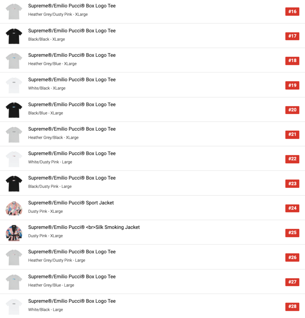SUPREME 2021SS WEEK16 SELL OUT TIMES